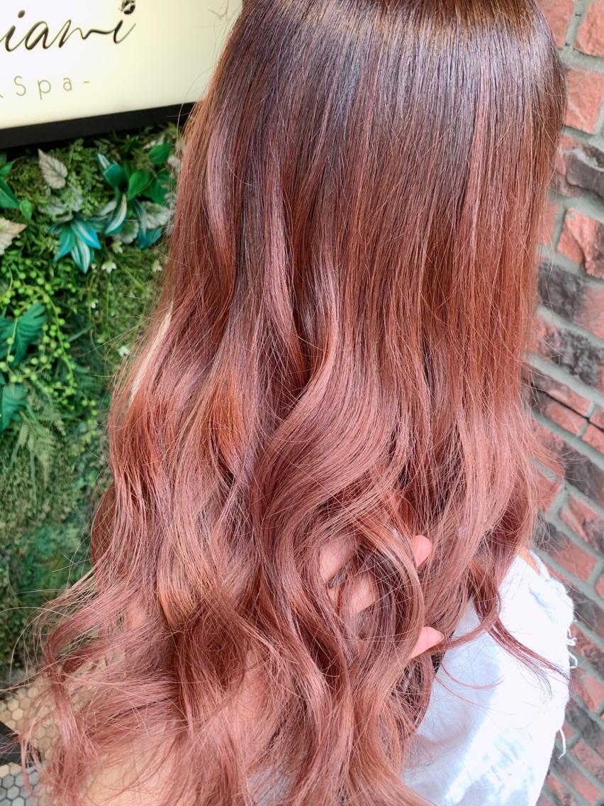 #ロング #カラー 大人気☆ピンクカラー 色落ちも可愛く仕上げます!