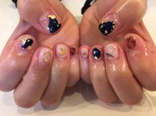 塗りかけネイル♡ネイビーとべっ甲のコラボ♡ trico nail&SPA梅田茶屋町店所属・吉元麻奈美のフォト