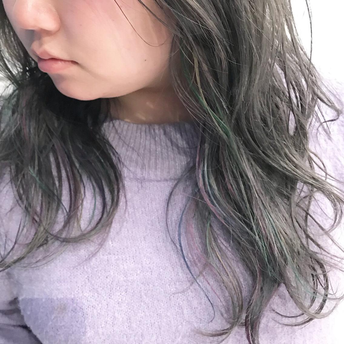#セミロング #カラー greyge × unicorn color  ブリーチ1〜2回
