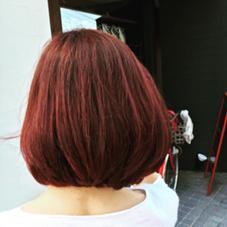 まとまりのボブ☆  色はモーブで(^^)  赤すぎずブラウンをmixに♪ ドンナ新大宮所属・瀧川秀樹のスタイル