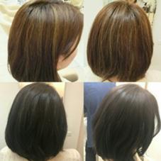入社式前カラー✨黒染めではない!ネイビー、グレーで自然な髪色 M.SLASH 本牧店所属・吉田有里のスタイル