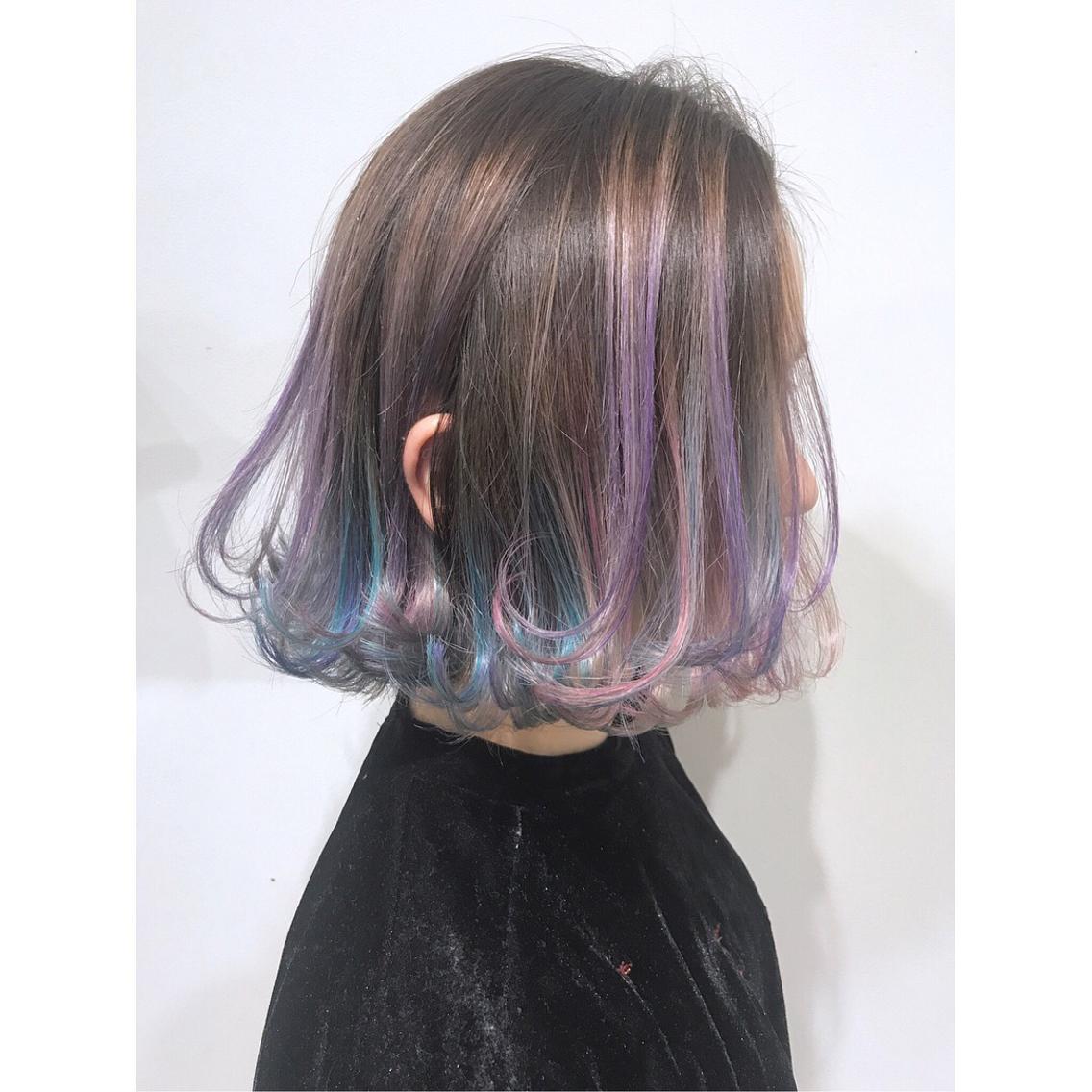 ショート カラー ♡ユニコーンカラー♡ ターコイズ×ブルー×バイオレットピンク