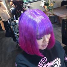 根元紫からのピンクのグラデーション マニパニ使用しています ()inni hair design works所属・藤木真帆のフォト
