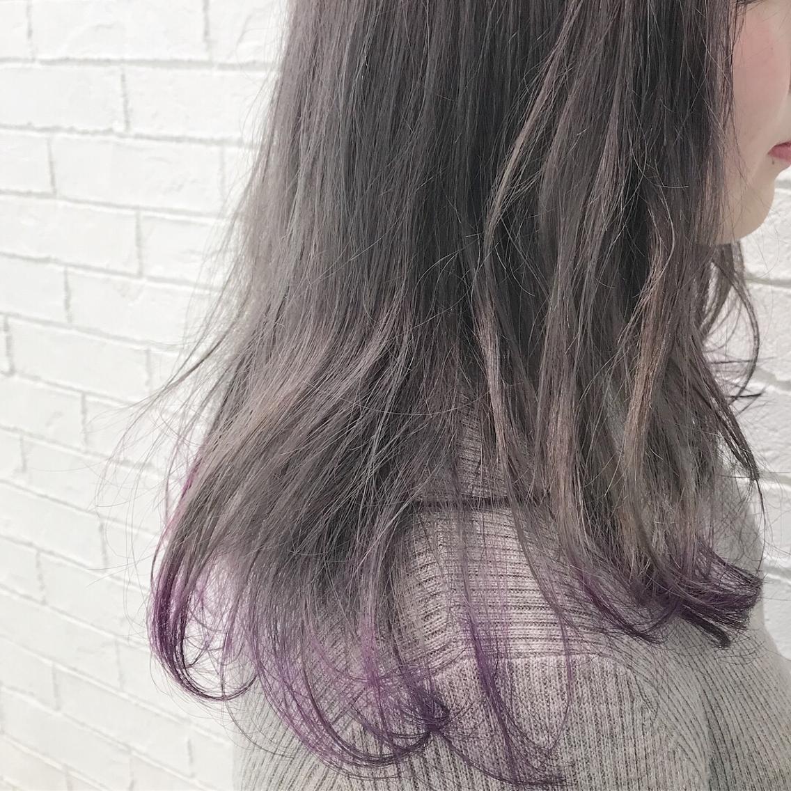 #セミロング #カラー grayge color × violet  ブリーチ1〜2回