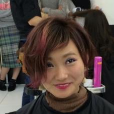 グラデーションで、ポイントに赤をいれてます MODE Ks Lumina所属・上堀愛子のスタイル