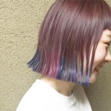 その他 カラー キッズ ショート ネイル パーマ ヘアアレンジ マツエク・マツパ メンズ ピンクカラーベースに  毛先をマニックパニックで青、ピンク