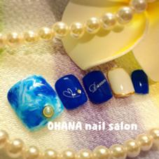 【フット定額デザインコース】 色変更OK 夏はやっぱり青だな(*^_^*) OHANA自宅ネイルサロン所属・陳しゅう帆のフォト