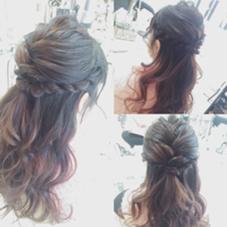 フィッシュボーン編み込みをざっくりとしてサイドの毛をロープ編みしたハーフアップスタイル✨ FEERIE所属・野口優希のスタイル