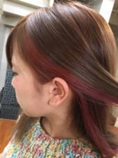 インナーカラーで赤系の色を入れました☆ Neolive ora所属・宇野芙美香のスタイル