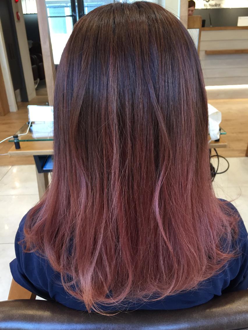 ミディアム セミロング ロング カラー ピンクバイオレットのグラデーションカラー!