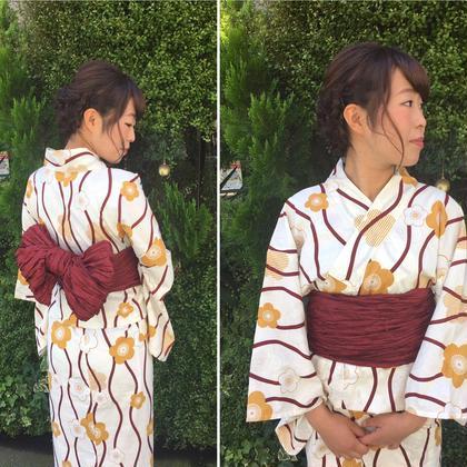 浴衣&アップ☆ この浴衣ヘア人気です^ ^ morio from london 大宮2号店所属・細矢茉里子のスタイル