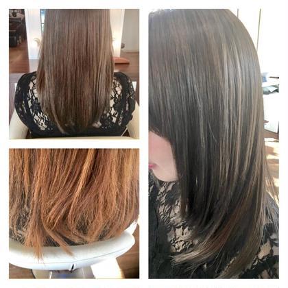 ココナッツ矯正&カラー(スモーキーアッシュ) 白神大介のセミロングのヘアスタイル