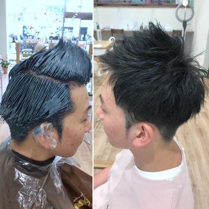 その他 カラー ショート メンズ 【黒髪からでもブルーブラックカラー】 カラーミューズのお陰で、黒髪からでも透明感抜群のブルーブラック、ブルーグリーンが可能です。明るく出来ないけどカラーを楽しみたいという人にはオススメ!!