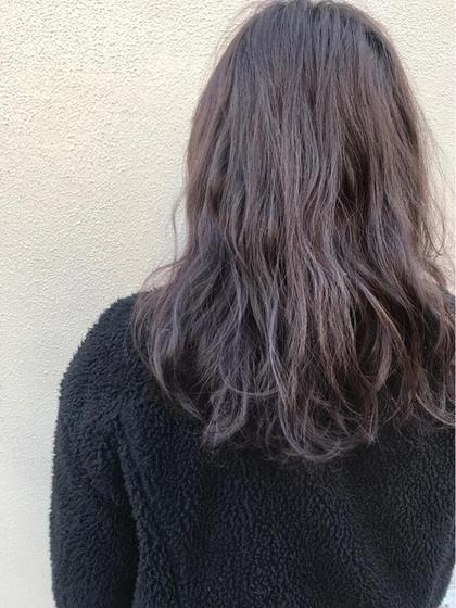 カラー すみれいろ。ほんのり感が可愛い。 #イルミナカラー#ロング