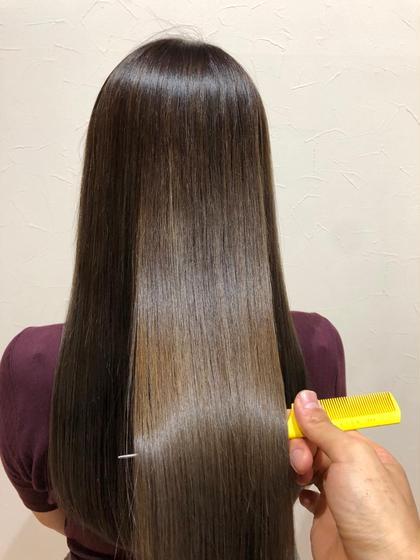 カラー セミロング 最高の艶髪、うる艶トリートメント ブラウンベージュ系、大人カラー