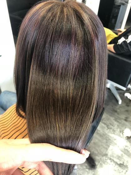 ツヤッツヤに☺️❤︎❤︎❤︎※加工なしです カイヌマサラのセミロングのヘアスタイル