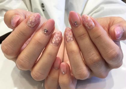 ネイル ミディアム 入学シーズン桜ネイル♡