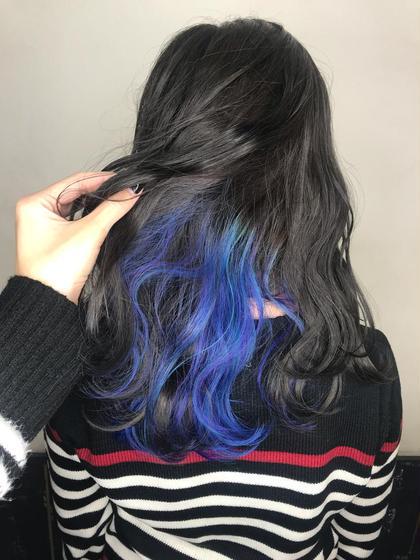 カラー インナーカラー 青✕ターコイズ✕紫