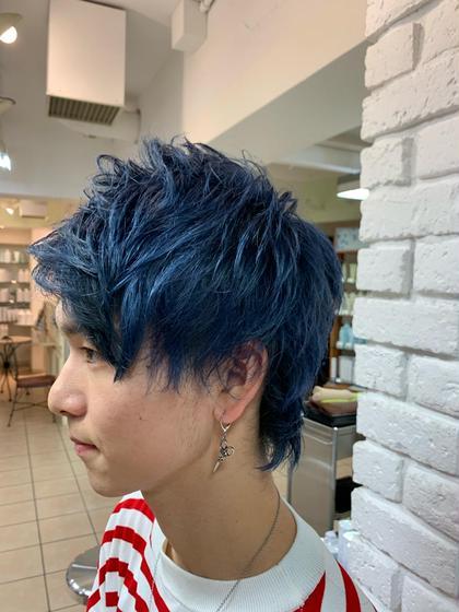 今流行りのブルーアッシュ系にしました!ご自宅で色つきのシャンプーを使うと色持ちがさらによくなります( * ॑˘ ॑*  )  SHAPE GARDEN 亀有所属・米田日菜子のスタイル