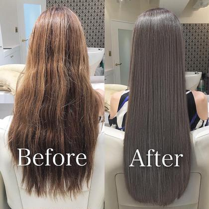 その他 カラー ロング サイエンスアクア!! 『サイエンスアクア』はダメージになる薬剤を一切使わずに、特殊な科学の『水』と『アミノ酸』だけでクセを抑え、潤いとツヤを与える新らしい技術です。  今までのトリートメントや、縮毛矯正とは全く違う髪質改善メニューなのです。