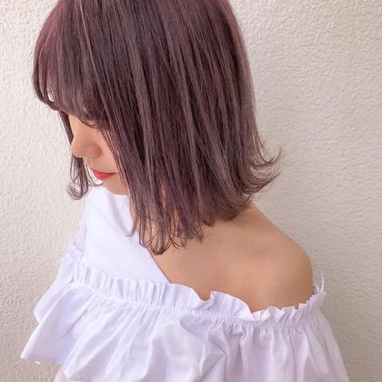 カラー ショート ライトピンクベージュ♡切りっぱなしbob