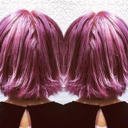 ★ハイトーン color★  ⚡️外ハネピンクバイオレッド⚡️ EARTH coiffure beaute 伊勢崎所属・okamotoryoheiのスタイル