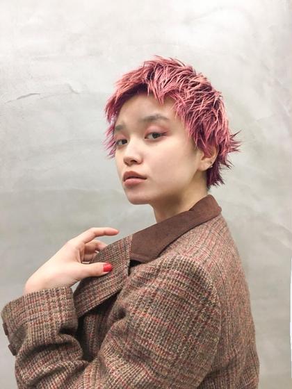 カラー ピンクショート #ハイトーン#デザインカラー#ダブルカラー