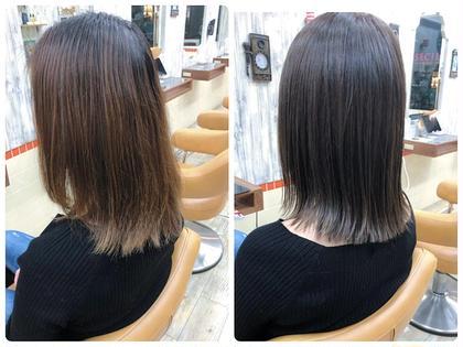 根本のリタッチカラー + トリートメント + 前髪カット
