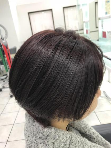 カラー ショート 退色してしまった髪にブラウンを足してツヤ感UP!