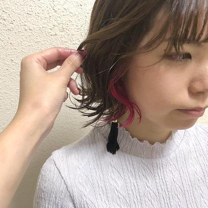 カラー ショート インナーカラーピンク