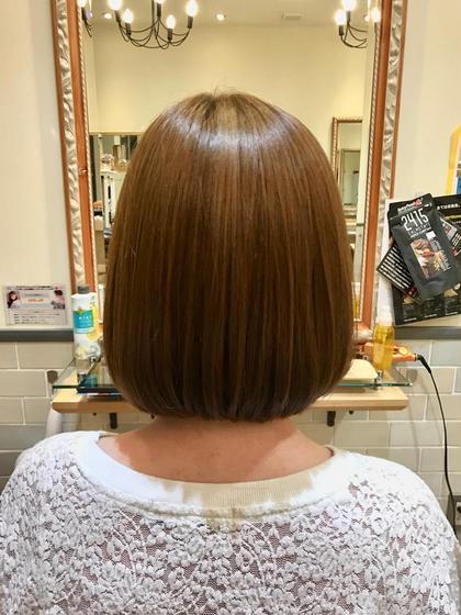 カラー パーマ ヘアアレンジ ミディアム 毛先に丸みを残した縮毛強制です💖  柔らかな印象を与えてくれます💫