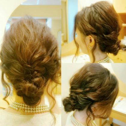 結婚式アップスタイル シニヨン×ルーズstyle✨ 松本平太郎美容室銀座V所属・タダシゲハルのスタイル