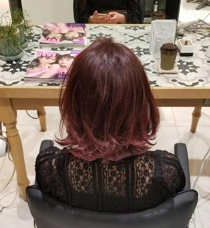 赤系カラー  ベリーピンク  紫を強めにグラデーション high salon Gallica所属・落合優のスタイル