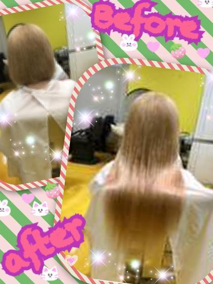 ハイトーンストレートスタイル☆彡 量は多くないのですが地毛が短めでボブスタイルなので馴染むように地毛の毛先はすいてから超音波エクステで一番明るいお色で100本取り付け(^_-)-☆ 地毛との境目もわかりずらく自然に馴染みこの夏にピッタリなヘアスタイルです(^^♪  DuoHair心斎橋店のロングのヘアスタイル