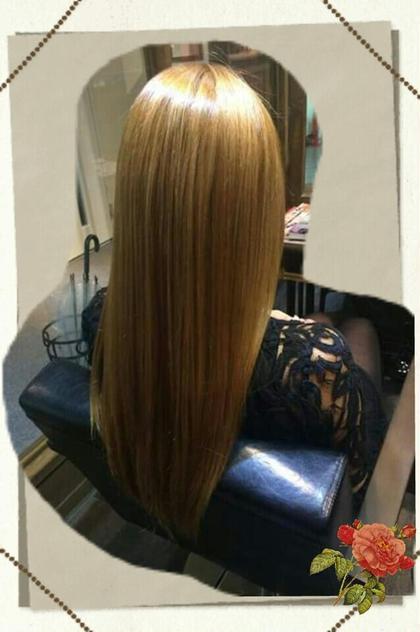 縮毛矯正後です! ブリーチは一回(*´-`) 髪質改善ヘアエステhanare所属・本間あゆみのスタイル