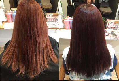 ブリーチ毛から傷みのないピンクに( ´ ▽ ` )ノ アロマケアカラーと水素トリートメント相性バッチリでこんなにも変わります(*^^*) ALMO  hair design所属・小林優のスタイル
