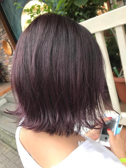 カラー ミディアム ピンクバイオレット!! ブリーチは1回している髪の毛にしています!!