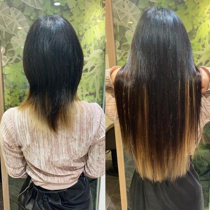 地毛のインナーカラーに合わせてエクステでも入れました☆黒髪インナーカラーでカッコ可愛く♪  アプリ登録のお客様は仕上げの巻き髪無料サービス♪