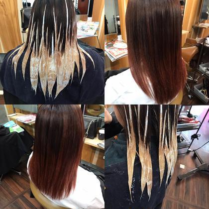 カラー ロング #ブリーチ必須#別途料金  暖色カラー🥰🌸✨ バレイヤージュ技法で動きと立体感を演出!☺️💓 巻いて更に可愛い❤️←女の子は大事なポイント✨   ヒアルロン酸トリートメント仕上げて ダメージで悲鳴を上げてた髪もツルツルサラッサラに😍✨