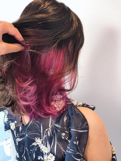 ピンクのインナーカラー☺︎  アレンジしたり耳にかけた時に チラッて見えるピンクが可愛い~❤︎