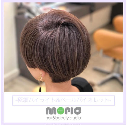 その他 カラー ショート 極細ハイライトで立体感あるコンパクトショートヘア 色落ちが綺麗なペールバイオレットで透明感をプラス