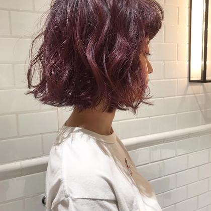 🍇 cassis pink 🍇  パーマ風にふわふわにセットしました🥀