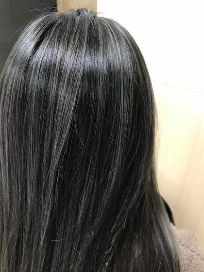 カラー ロング ブルーアッシュ☆3Dハイライト
