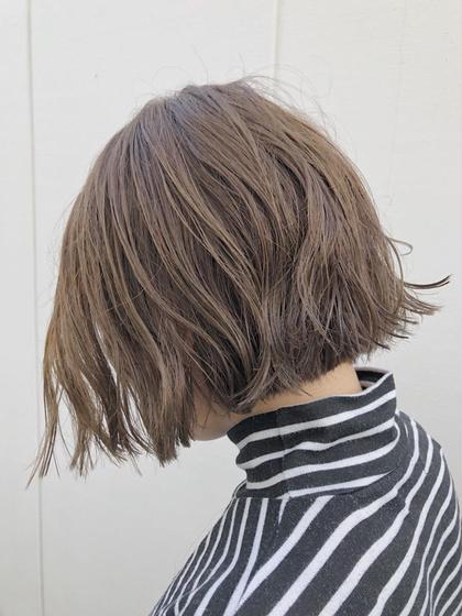 カラー ショート くせ毛をパーマ風に