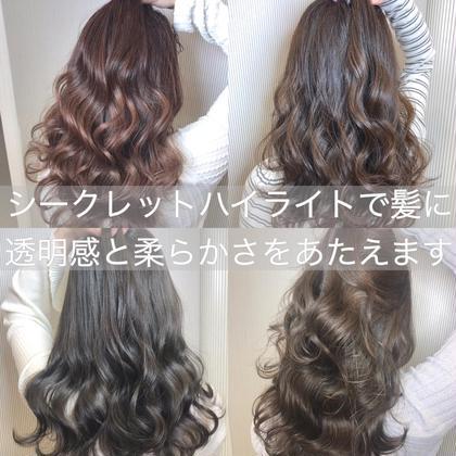 💝髪に必ず透明感と柔らかさをあたえるシークレットハイライトWカラー(ポイント)➕カット➕サブリミックケアTR💖