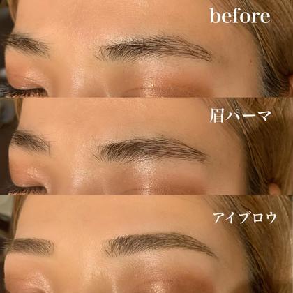 SNSで話題✨【ブロウラミネーション】眉毛パーマで毛流れを整え、眉周りの余分な毛をwax脱毛で除去します✨