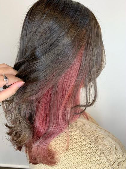 人気のピンクのインナーカラー♪  可愛い♡