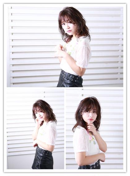 セミロング✳︎今流行りのウェットスタイル✳︎長め前髪も可愛い✂︎ ailis所属・嶋村志乃舞のスタイル