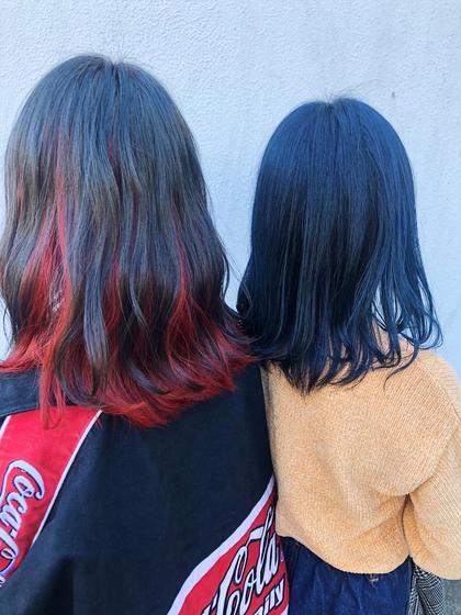お友達同士でカラーに来てくれました💓 #インナーレッド #前髪インナーカラー #ネイビーブルー