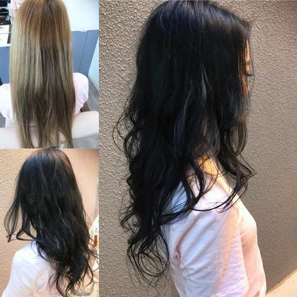 カラー セミロング ブリーチを繰り返した髪からブラックへ✨ 傷みがわかる髪をわかりにくく出来ます👌